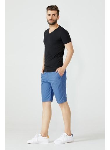 Sementa V Yaka Erkek Basic Tshirt - Siyah Siyah